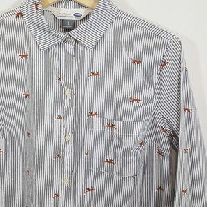 Old Navy Fox Print Cotton Button Down Small Petite